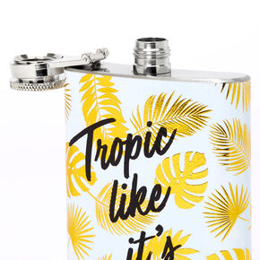 Golden Tropic Like It's Hot Palm Leaf Flask - White,