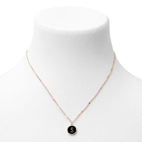Gold Enamel Initial Pendant Necklace - Black, S,