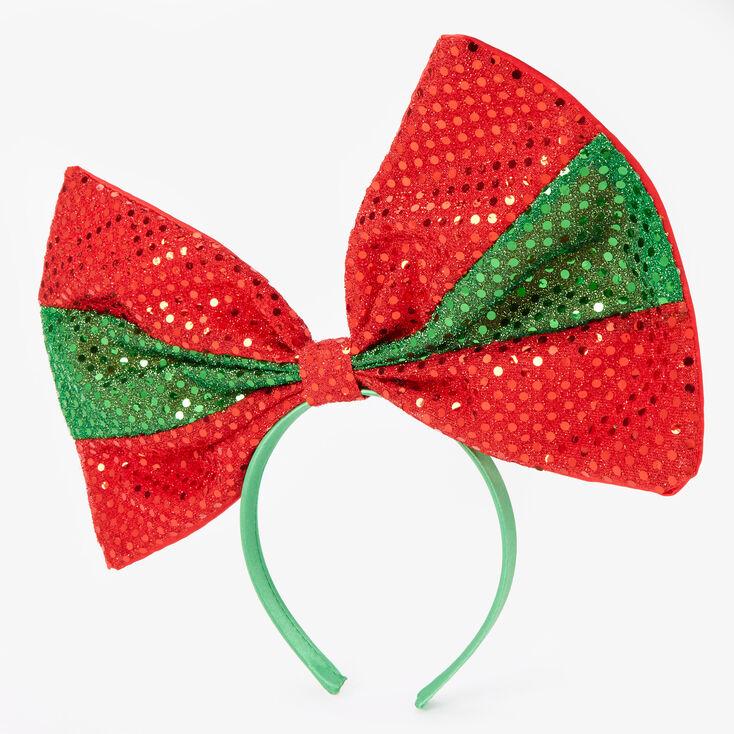 Large Sequin Holiday Bow Headband,