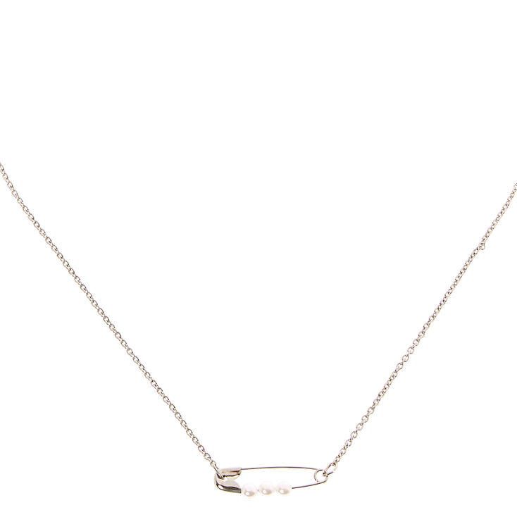 Pearl Safety Pin Necklace,
