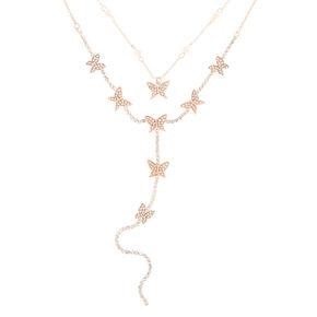 Rose Gold Butterfly Multi Strand Choker Necklace,
