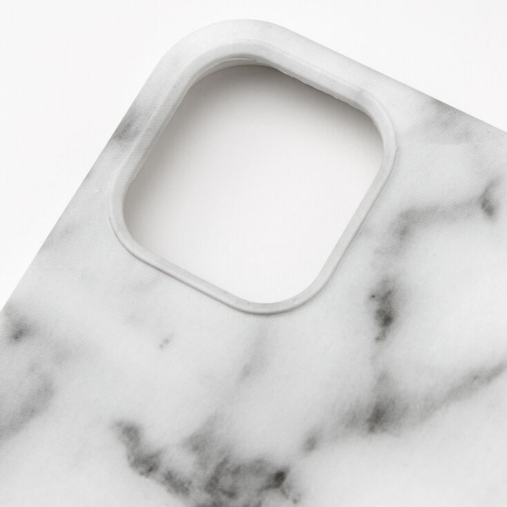 White Marble Protective Phone Case - Fits iPhone 12/12 Pro,