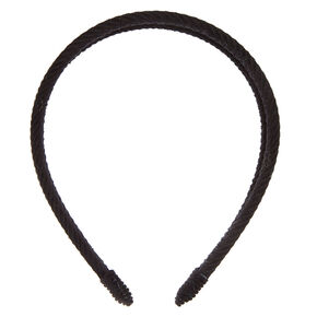 Double Row Ribbed Velvet Headband - Black,