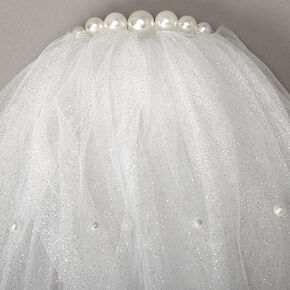 Shoulder Length Pearl Glitter Bridal Veil - White,