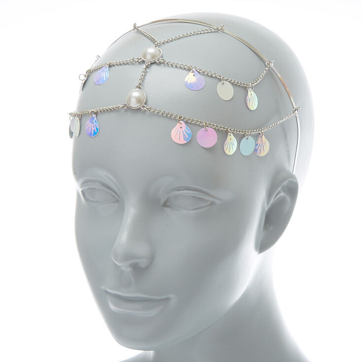 Holographic Mermaid Shell Back To Front Chain Headband,