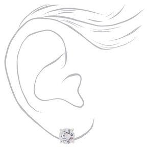 Silver Cubic Zirconia Round Stud Earrings - 8MM,