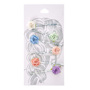 Pastel Paper Rose Bobby Pins,