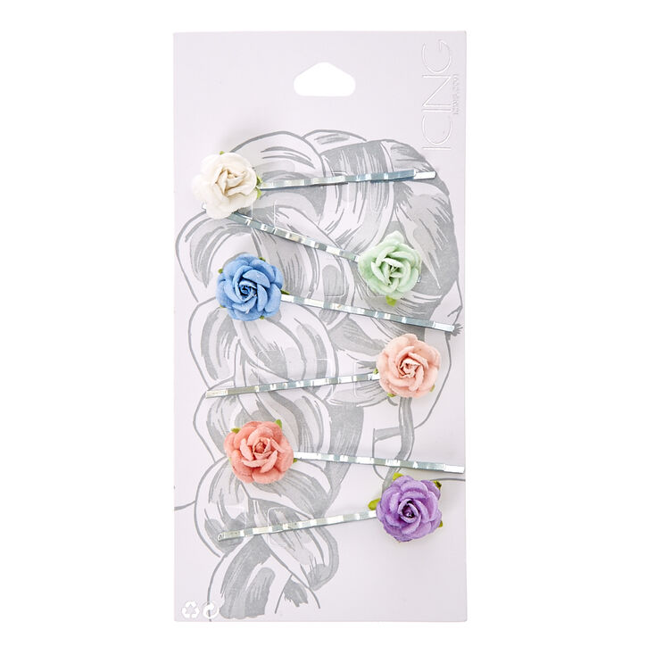 Pastel Paper Rose Bobby Pins,