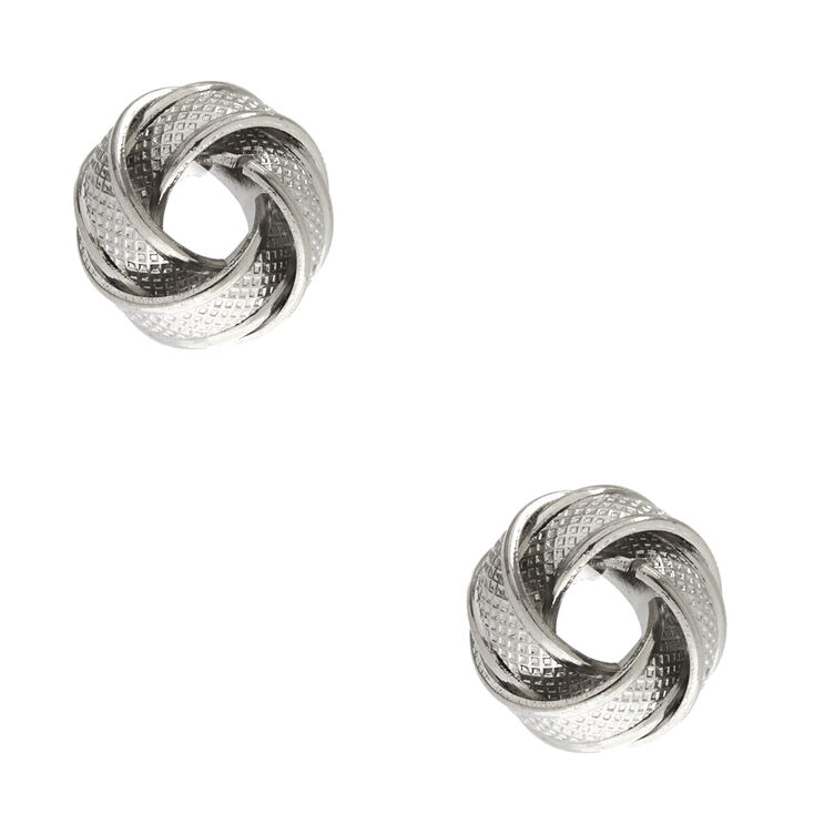 Silver Tone Large Textured Knot Stud Earrings,
