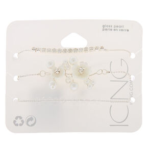 Silver Frosted Flower Statement Bracelets - White, 3 Pack,