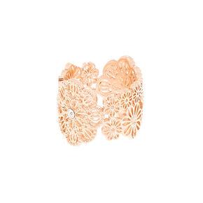 Rose Gold Filigree Flower Ring,