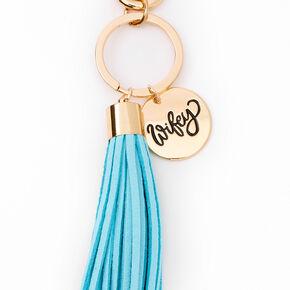 Wifey Rose Gold Keychain - Blue,