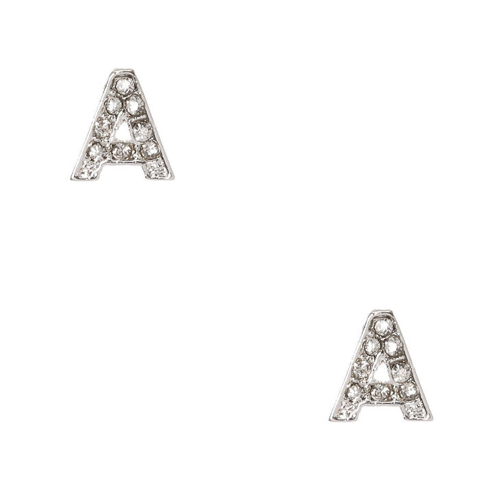 "Silver Tone Faux Crystal Initial ""A"" Stud Earrings,"
