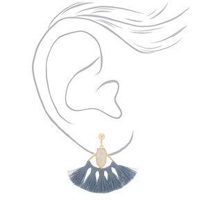 """2"""" Tassel Fan Drop Earrings - Gray,"""