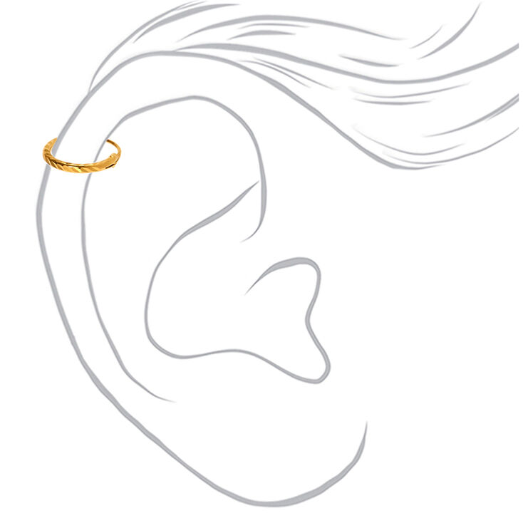 Sterling Silver Gold 22G Laser Cut Cartilage Hoop Earring,