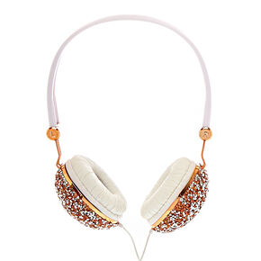 Crushed Rose Gold Crystal Headphones,