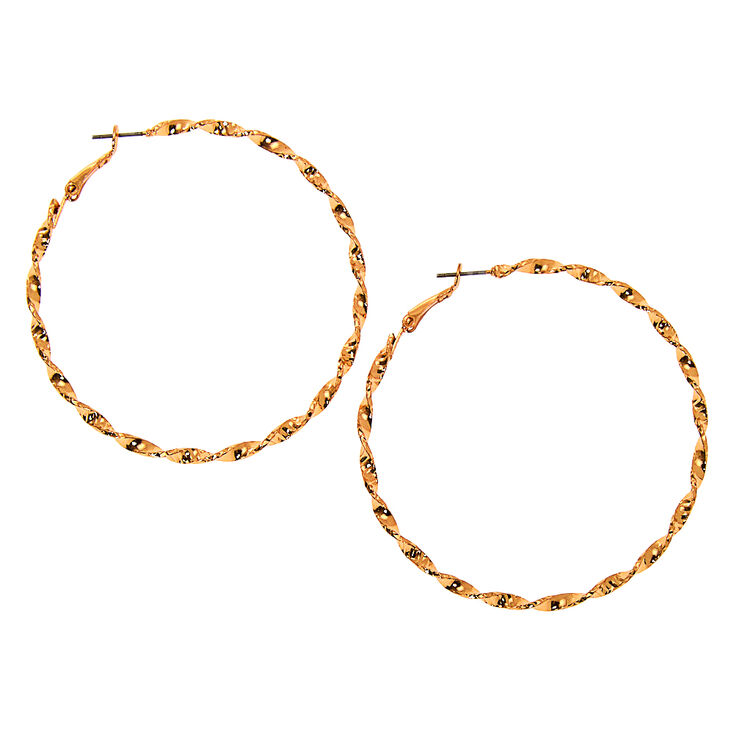 Gold 60MM Twisted Hoop Earrings,