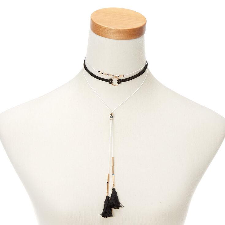 Gold Tassel Choker Multi Strand Necklace,