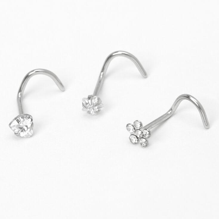 Silver 20G Flower Heart Star Nose Studs - 3 Pack,