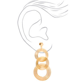 """Gold 3.5"""" Spiral Ring Drop Earrings,"""