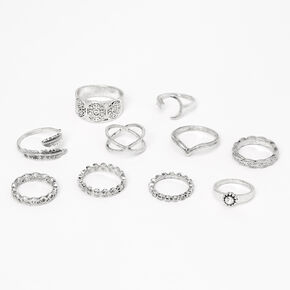 Silver Mixed Festival Rings - 10 Pack,