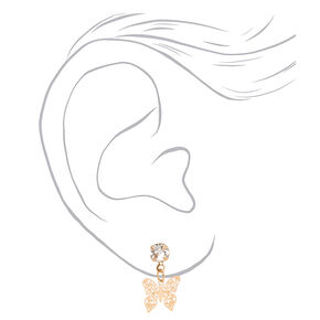 "Mixed Metal 0.5"" Filigree Butterfly Drop Earrings - 3 Pack,"