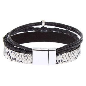 Snake Print Wrap Bracelet - Black,
