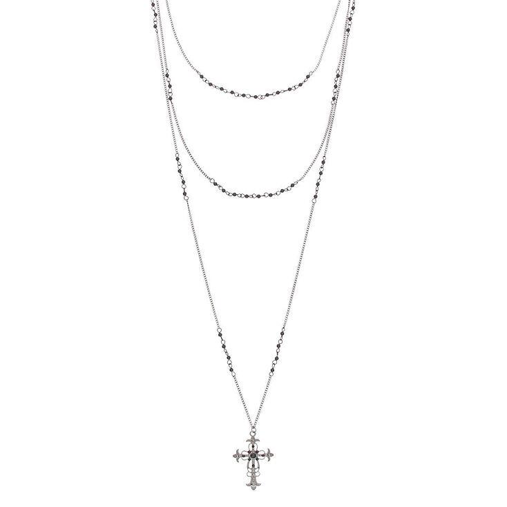 Hematite Cross Multi Strand Necklace,