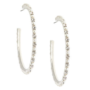 Crystal And Glass Pearl Hoop Earrings,