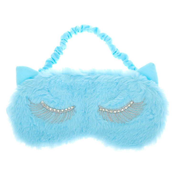 Bling Lash Cat Eye Furry Sleeping Mask - Blue,