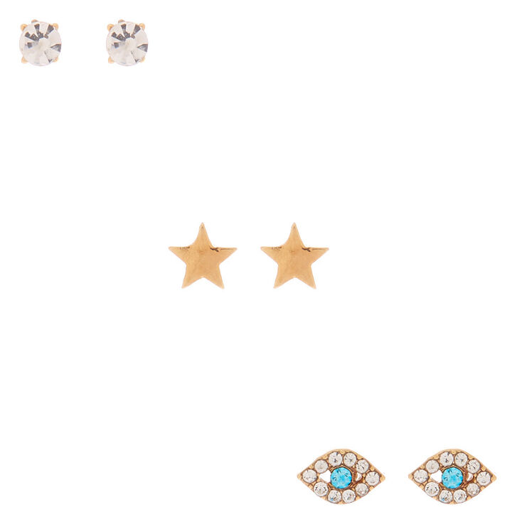 18kt Gold Plated Star Eye Crystal Stud Earrings - 3 Pack,