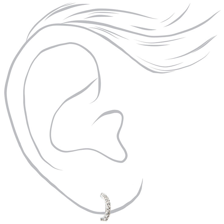 Sterling Silver 10MM Embellished Half Hoop Earrings,