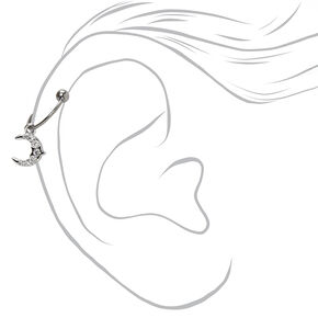 Silver Titanium 20G Crescent Moon Charm Cartilage Hoop Earring,