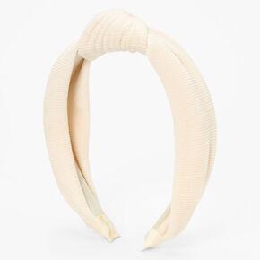Knotted Ribbed Knit Headband - Ivory,