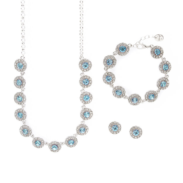 Pavé Rhinestone & Aquamarine Crystal Circles Statement Necklace, Bracelet & Stud Earrings Set,