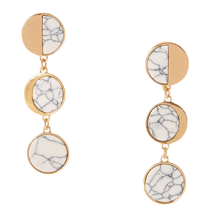 Gold Tone & White Marbled Stone Circle Drop Earrings,