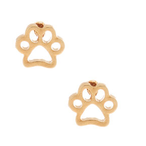 18kt Gold Plated Paw Print Stud Earrings,