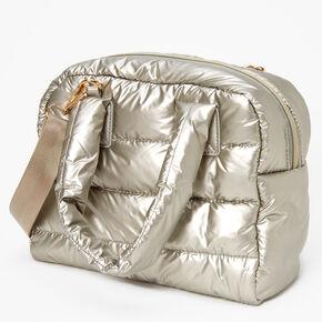 Slouchy Duffel Crossbody Tote Bag - Silver,
