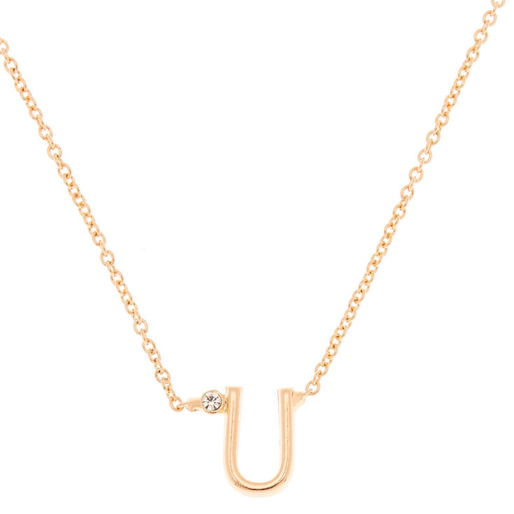 Gold Initial Necklace - U,