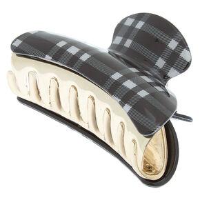 Checkered Hair Claw - Black,
