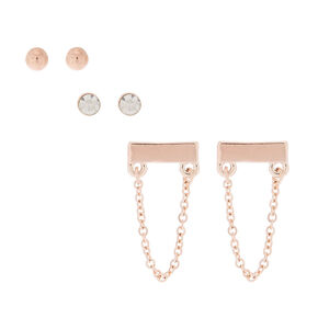 Rose Gold Swag Stud Earrings - 3 Pack,