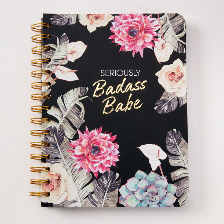 Seriously Badass Babe Floral Notebook - Black,