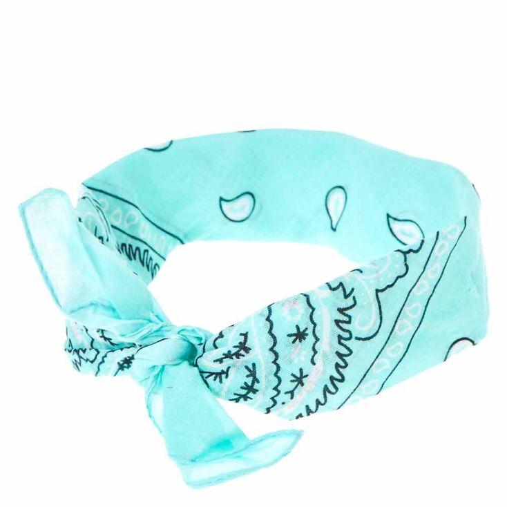 Mint Paisley Print Bandana Headwrap,