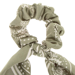 Paisley Satin Scarf Hair Scrunchie - Sage,