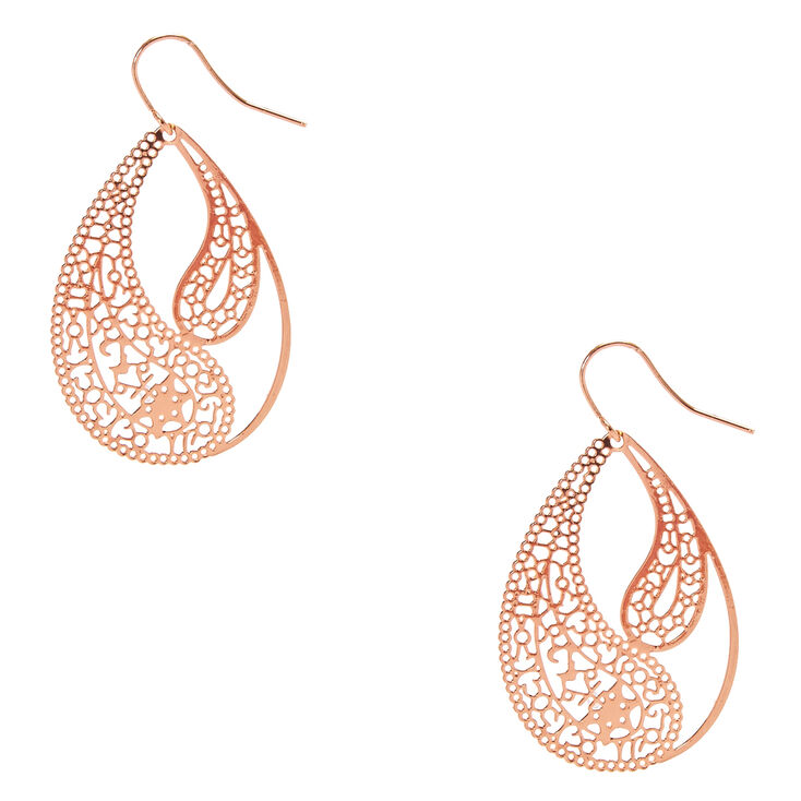 Rose Gold Tone  Paisley Filigree Teardrop Drop Earrings,