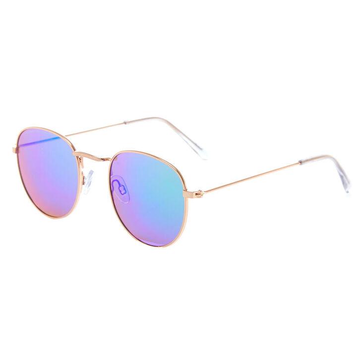 Gold Round Sunglasses,