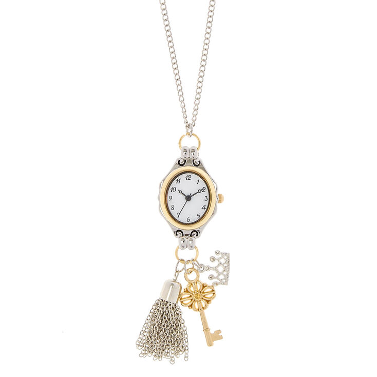 Silver Long Watch Charm Necklace,