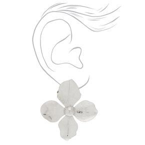 """Silver 2"""" Flower Stud Earrings,"""