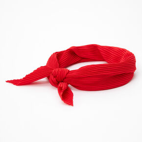 Pleated Bandana Headwrap - Red,