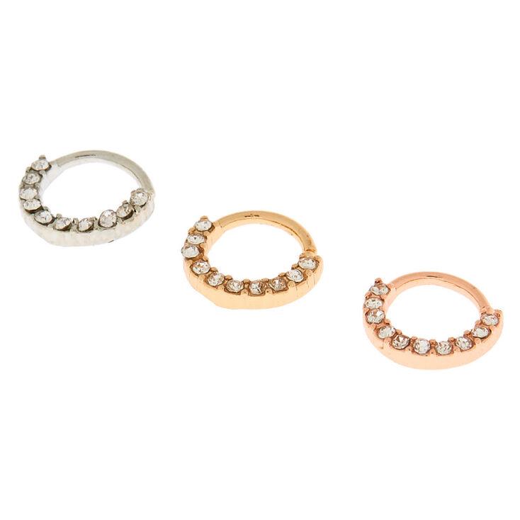 Mixed Metal 20g Mini Cartilage Hoop Earrings 3 Pack
